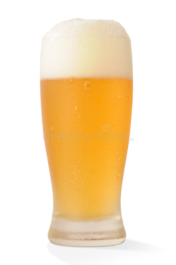 Cold beer glass with paths. Cold beer glass on white background with clipping paths royalty free stock images