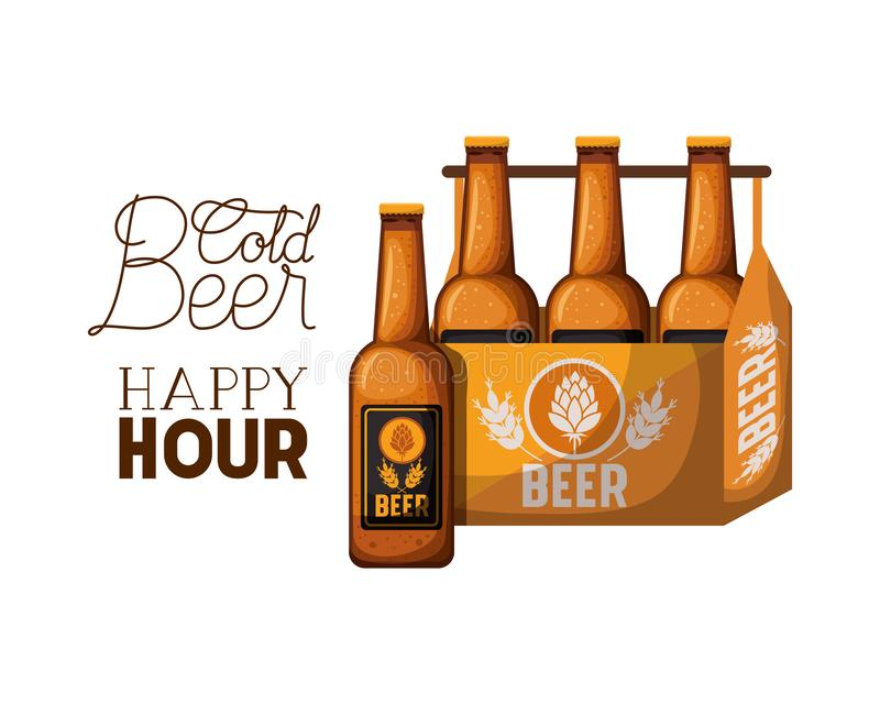 Cold beer happy hour label with box vector illustration