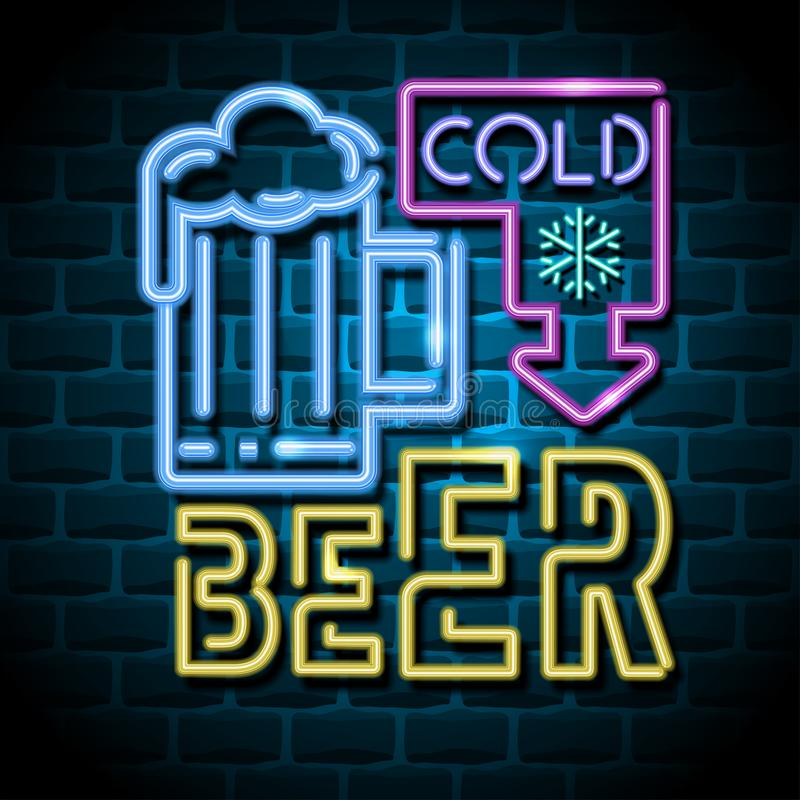 Cold beer neon advertising sign royalty free illustration
