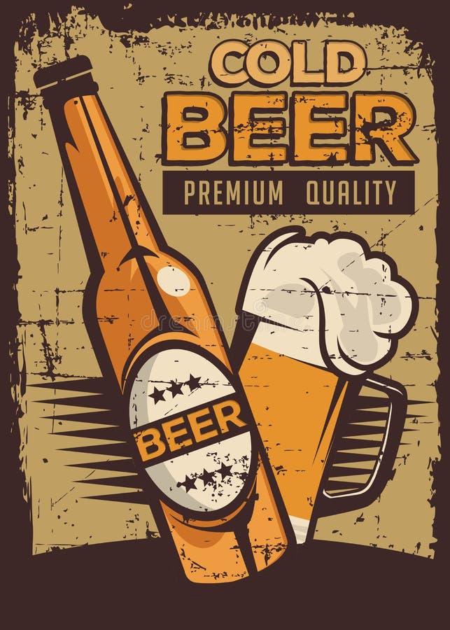 Cold Beer Vintage Retro Signage Vector. Graphic design bar stock illustration