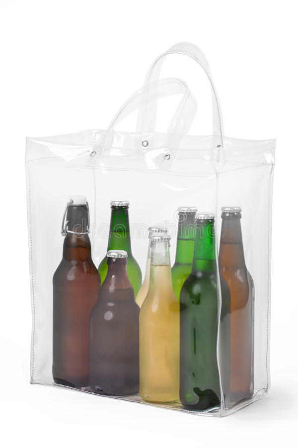 Cold Beers In Plastic Bag. Several cold beers in transparent plastic bag stock image