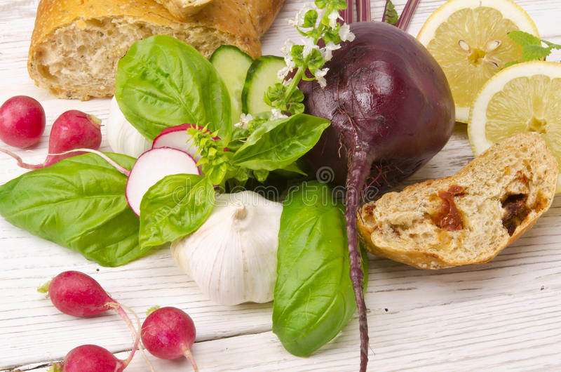 Cold beet soup ingredient royalty free stock images