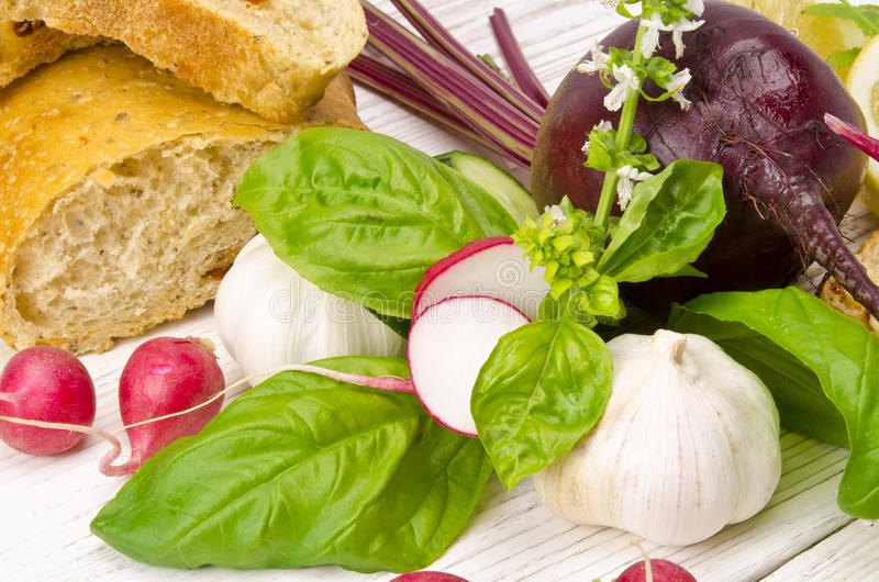 Cold beet soup ingredient stock images