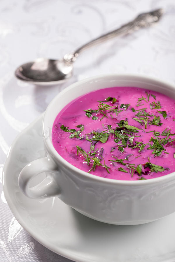 Cold beet soup stock photography