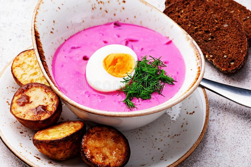 Cold beetroot soup stock photos