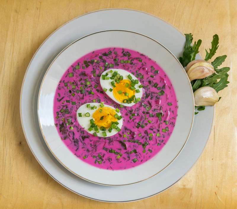 Cold beet soup (chłodnik litewski) with egg stock photography
