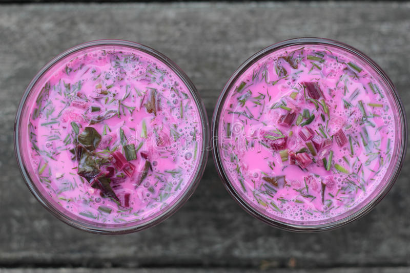 Cold beetroot soup. stock photography