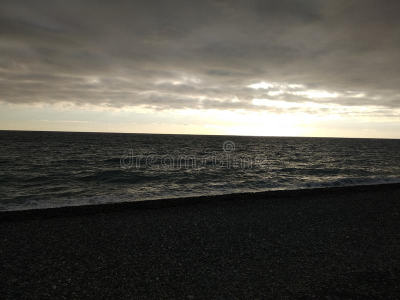 Black winter sea 9. Cold black winter sea. Russia, Sochi stock image