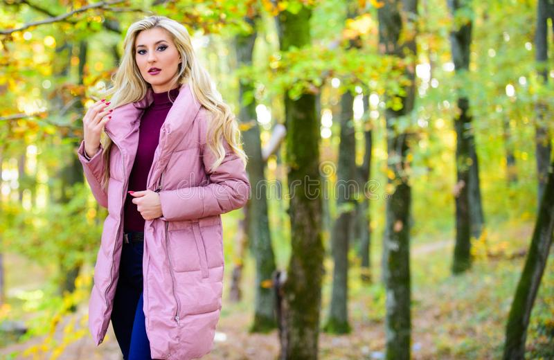 Cold blonde concept. How to repair bleached hair fast and safely. Autumn hair care is important so as to avoid dry. Frizzy hair. Girl fashionable blonde walk in royalty free stock photo