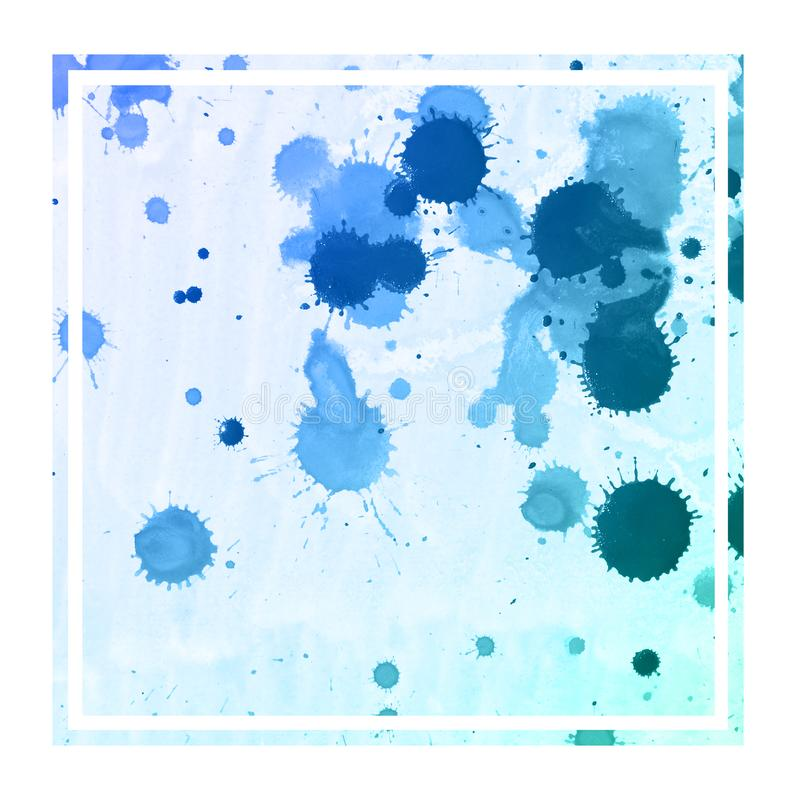 Cold blue hand drawn watercolor rectangular frame background texture with stains. Modern design element stock image
