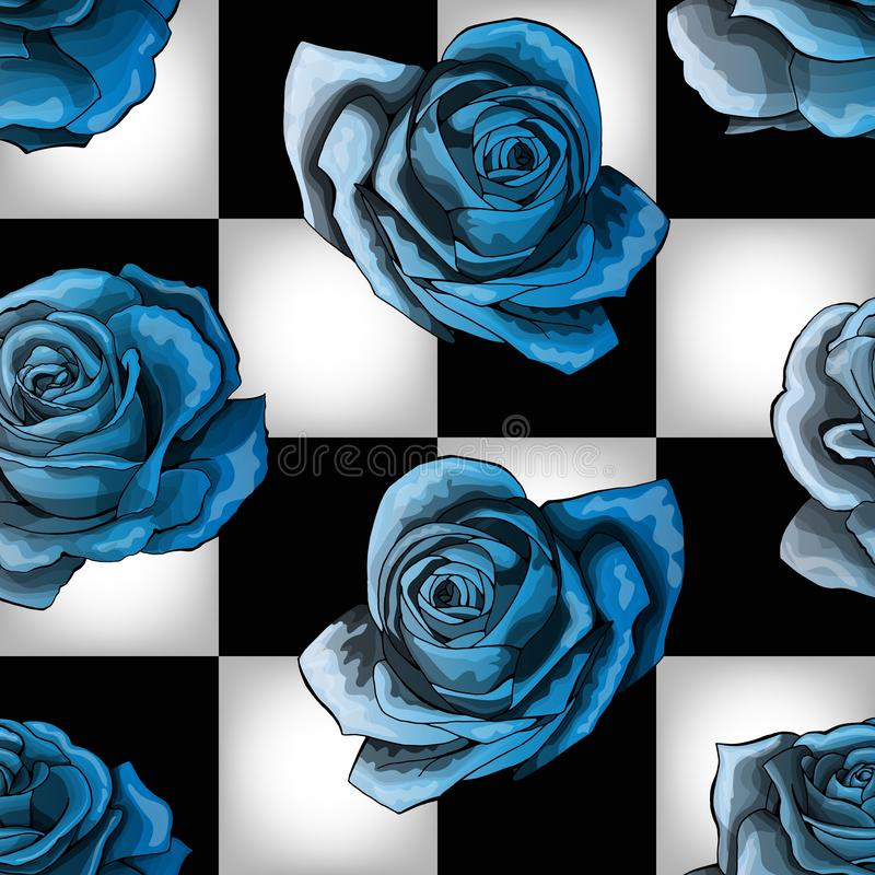 Cold blue vintage roses on chessboard background. Vector seamless pattern royalty free illustration