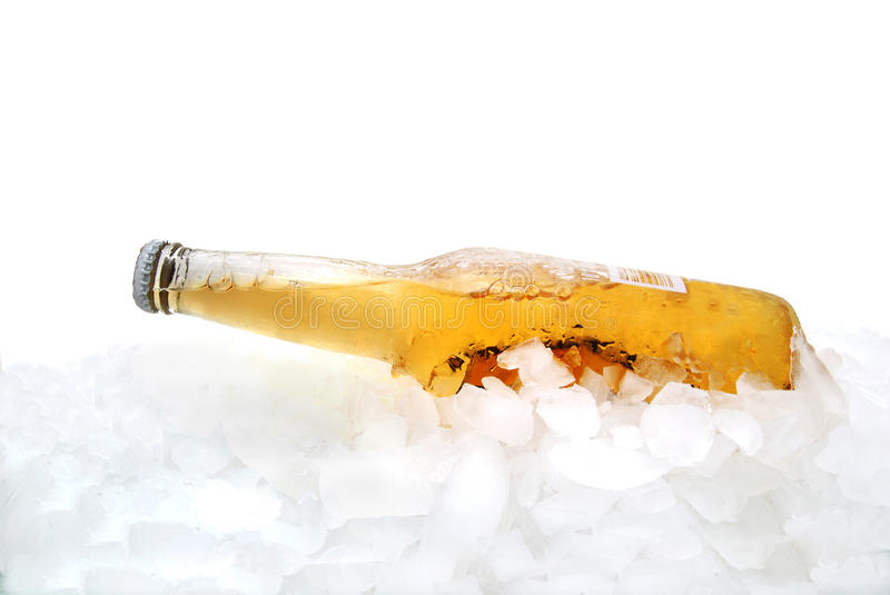 Cold Brew. Cold bottle beer on ice stock photography