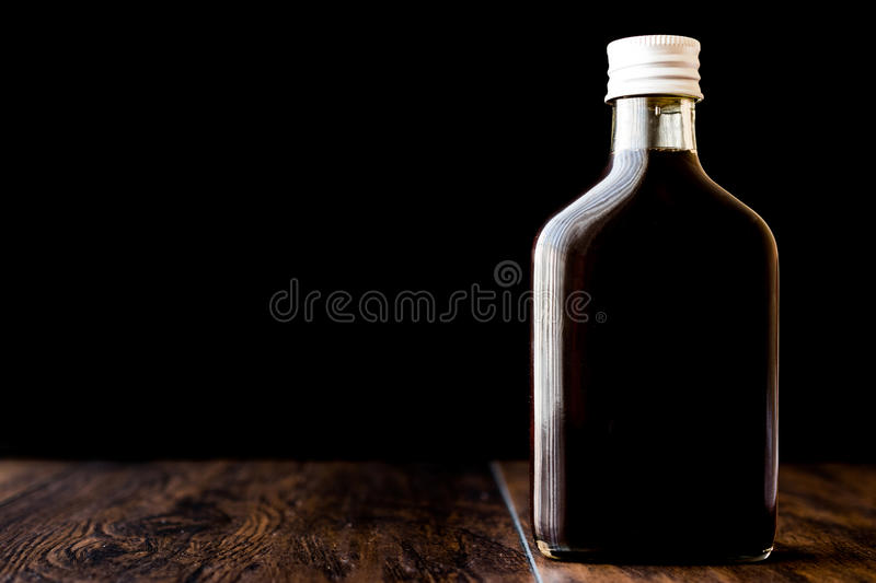 Cold brew coffee in a bottle. Organic beverage royalty free stock photos
