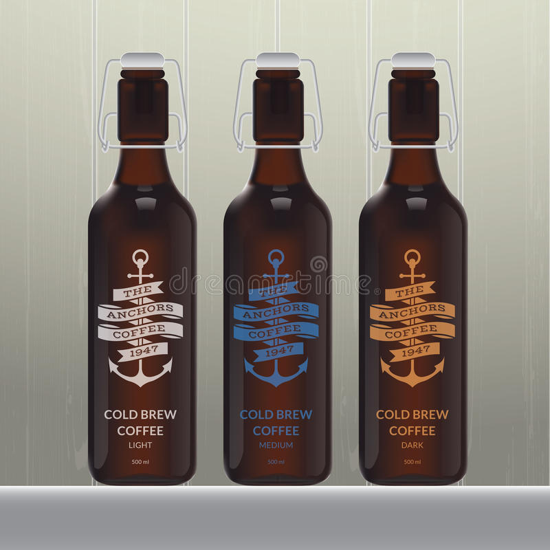 Cold brew coffee bottle set. On wood background vector illustration