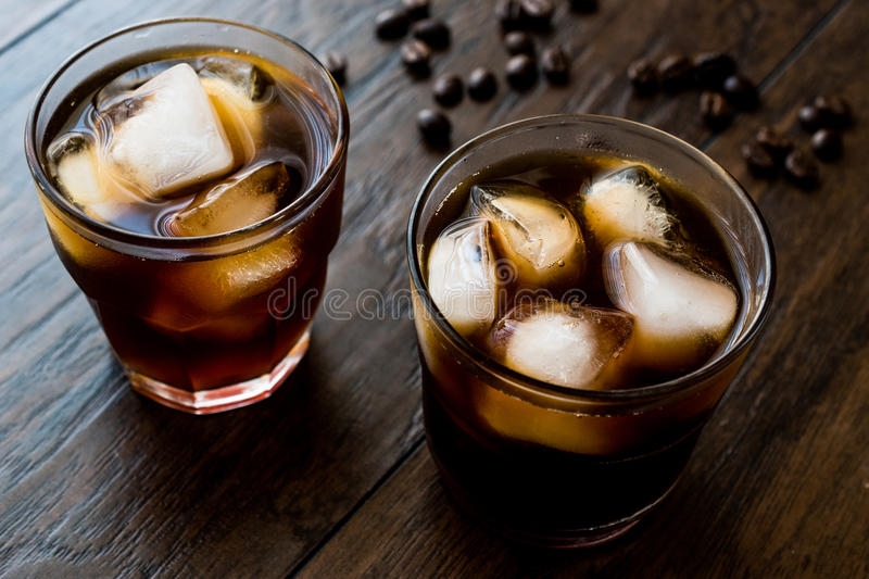Cold brew coffee with ice or iced coffee. Organic Beverage royalty free stock image