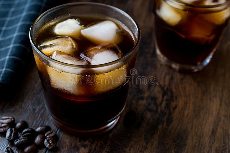 Cold brew coffee with ice or iced coffee. Organic Beverage royalty free stock photos