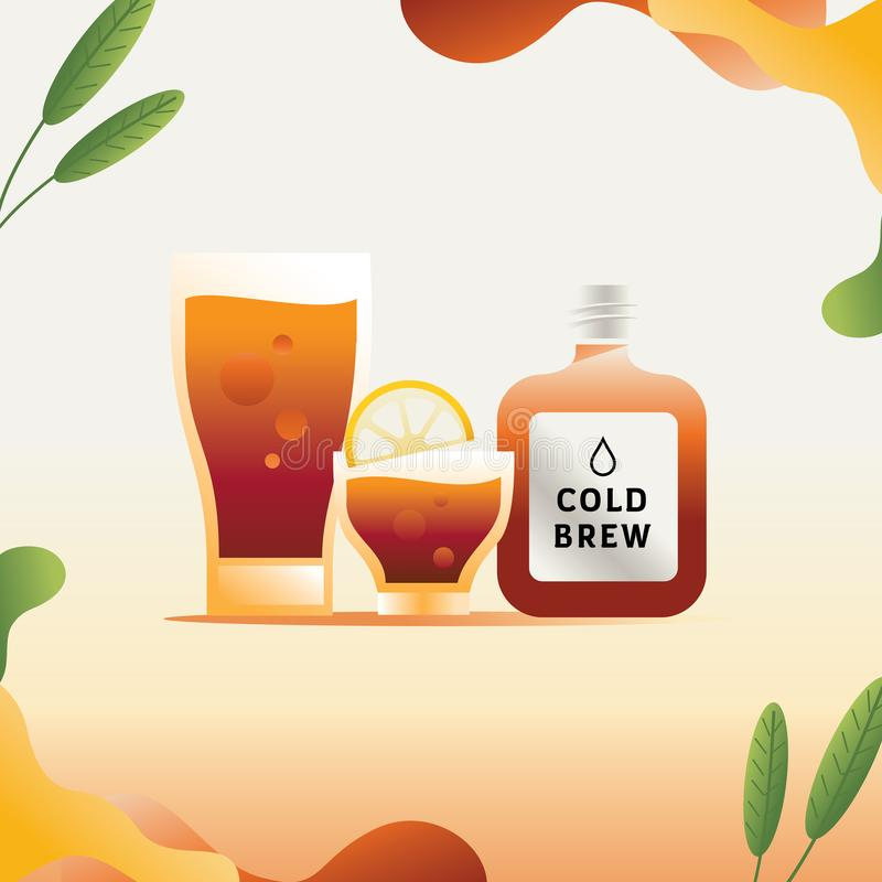 Cold brew coffee illustration with leaf element. Cold brew coffee flat style vector illustration with leaf element royalty free illustration