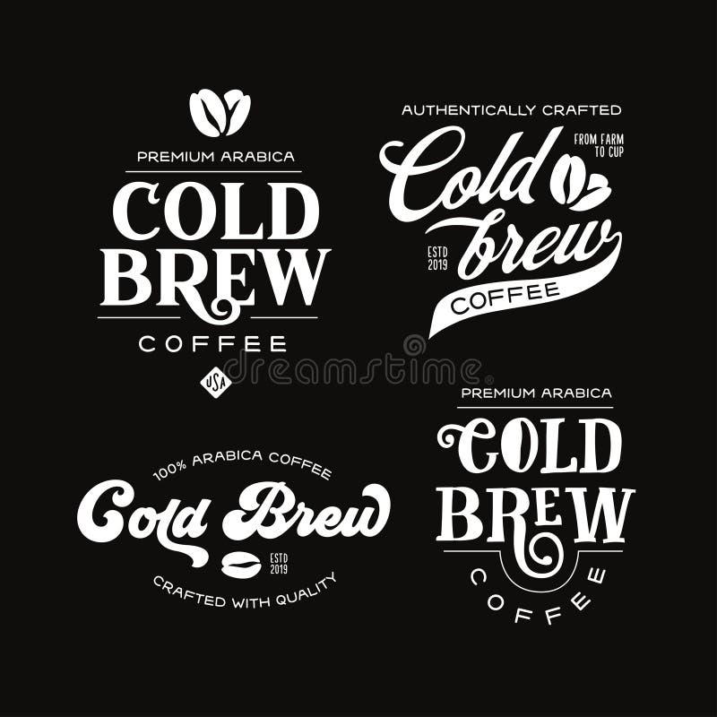 Free Cold Brew Coffee Labels Badges Emblems Set. Vector Vintage Illustration. Stock Images - 158576734