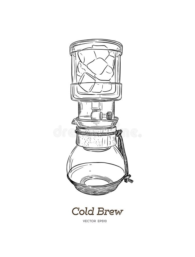 Cold brew. coffee maker hand draw vector. Cold brew. coffee maker hand draw illustration vector stock illustration
