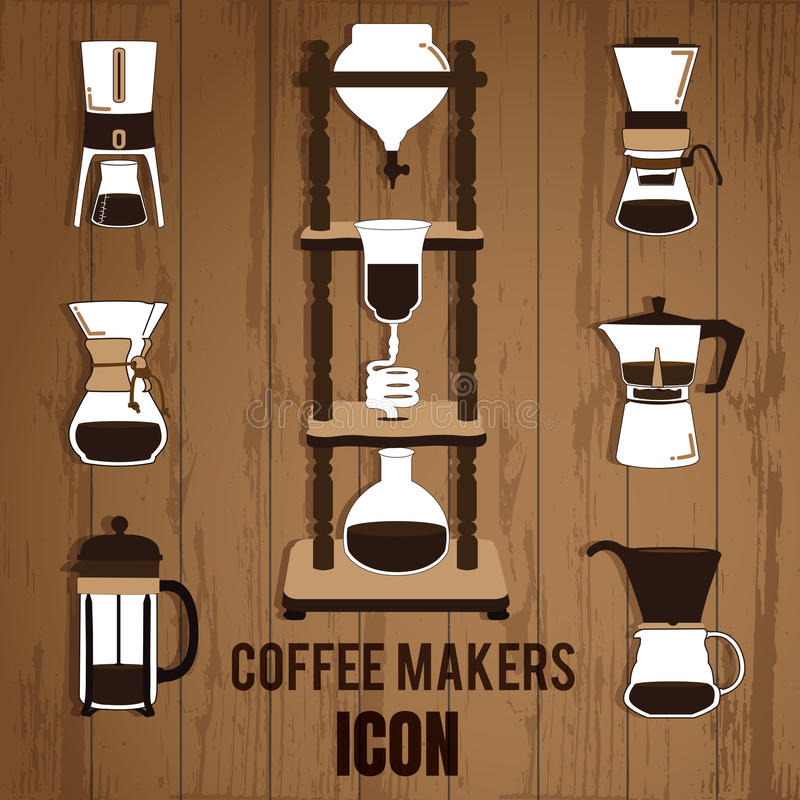 Cold Brew Coffee Makers. For coffee shop on wood background royalty free illustration