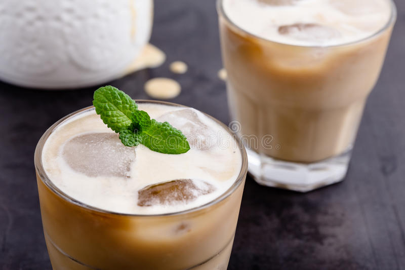 Cold brew coffee. On rustic gray table, simple summer iced drink royalty free stock images