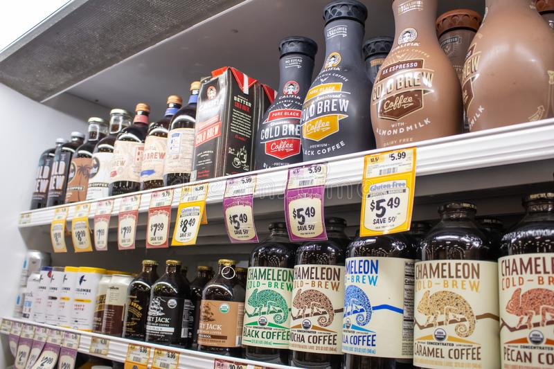 Cold Brew at the store. A variety of bottled cold brew coffee brands at the local grocery store stock photos