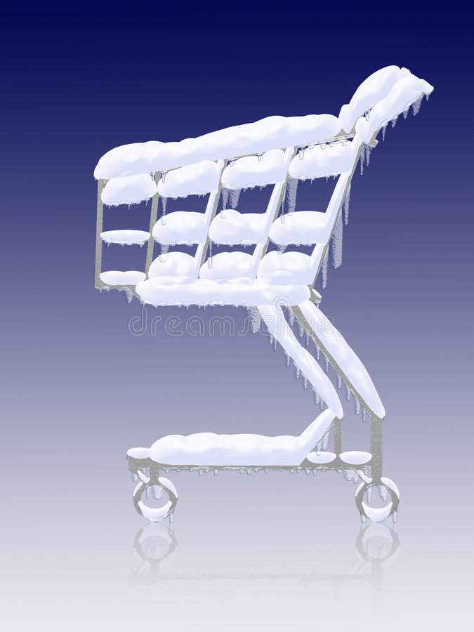 Cold buy. Snowy frozen shopping cart royalty free illustration