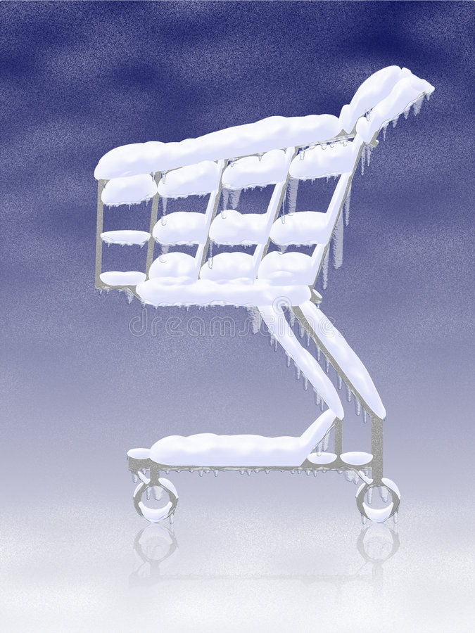Cold buy. Snowy frozen shopping cart stock illustration