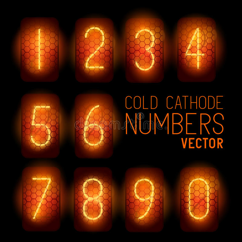 Cold Cathode Retro Display Numbers vector illustration