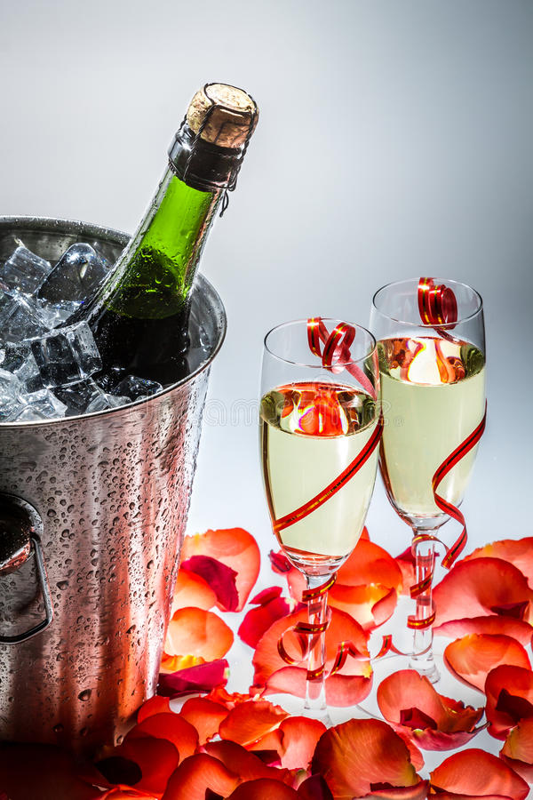 Download Cold Champagne And Red Roses In The New Year Stock Photo - Image of aperitif, alcohol: 28930966