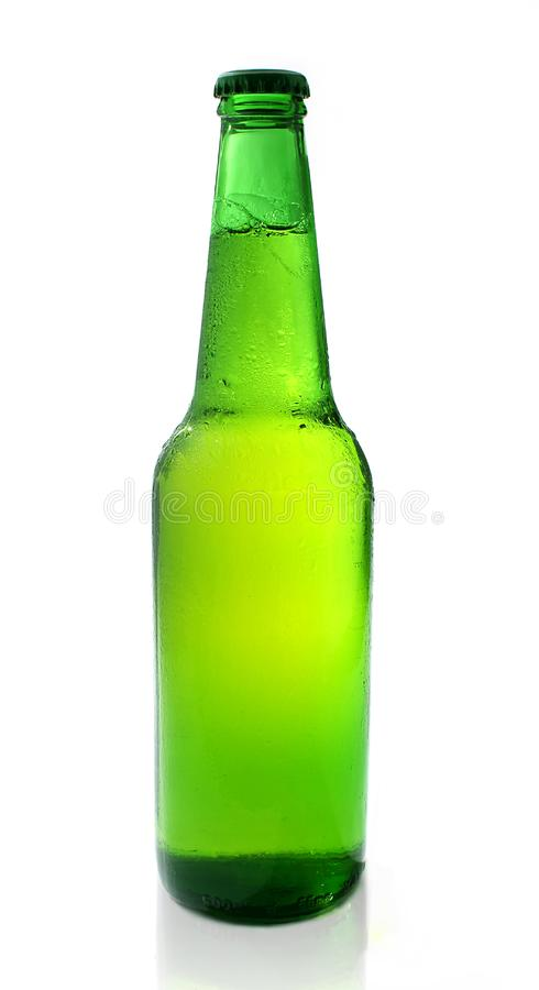 Cold chilled beer in green bot stock photo