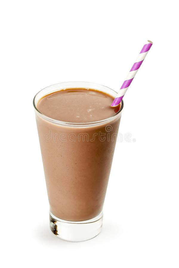 Cold chocolate milk. Glass of cold chocolate milk with straw on white stock photos