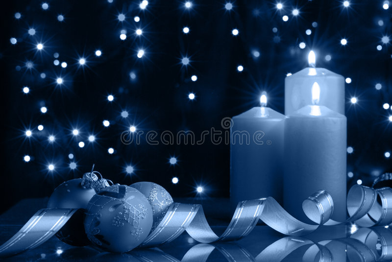 Cold christmas evening stock photos