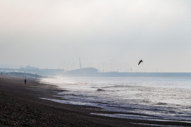 Cold cloudy morning at Brighton sea, United Kingdom. Cold cloudy morning at Brighton, United Kingdom stock images