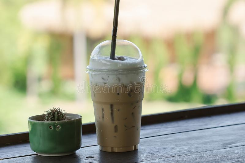 Cold cocoa and cactus placed on a wooden balcony royalty free stock photo