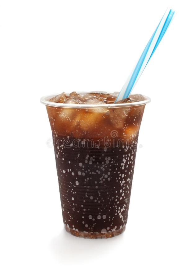 So cold coke with straw. Summer cold drink isolated white background royalty free stock photos