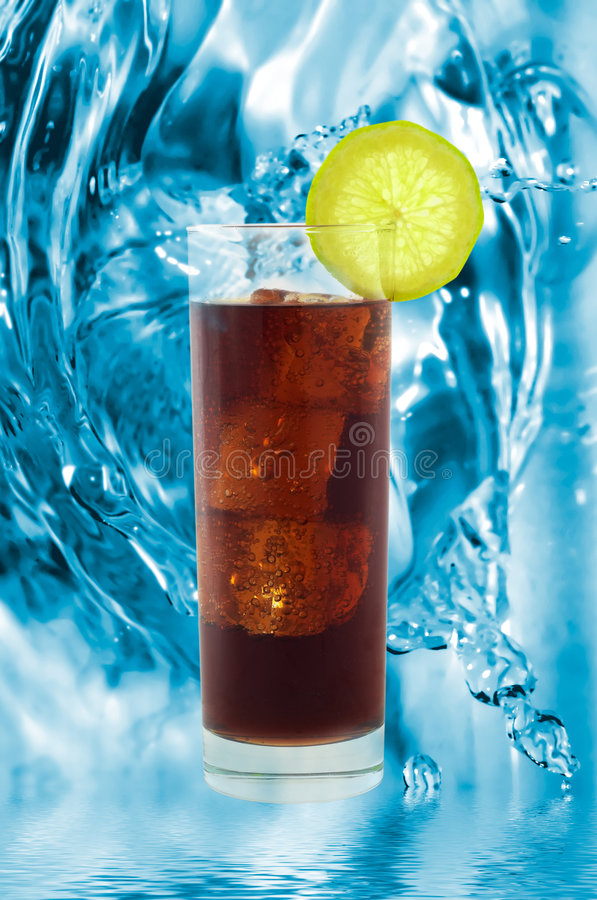 Cold cola with ice cubes royalty free stock photo