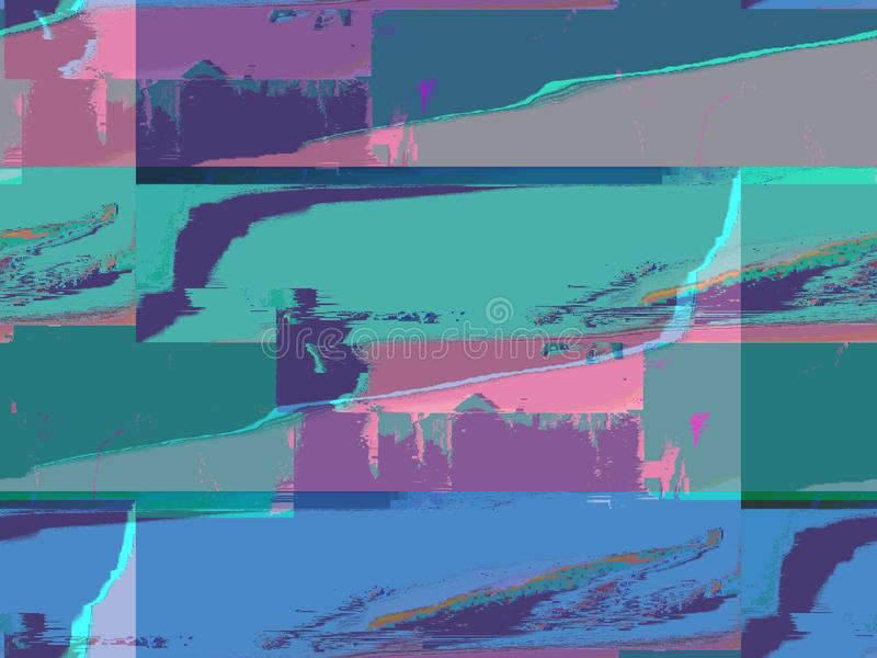 Cold colors, glitch art, broken pixel computer screen. Aesthetic pixelated screen flaw, GLITCH EFFECT, abstract digital art, flowing paint, mix medias. Fashion 8 stock illustration