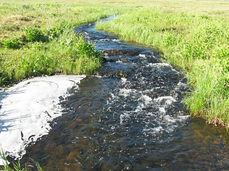 Cold creek with foam. royalty free stock photos