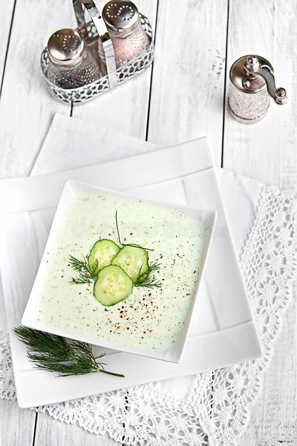 Cold cucumber soup royalty free stock photos