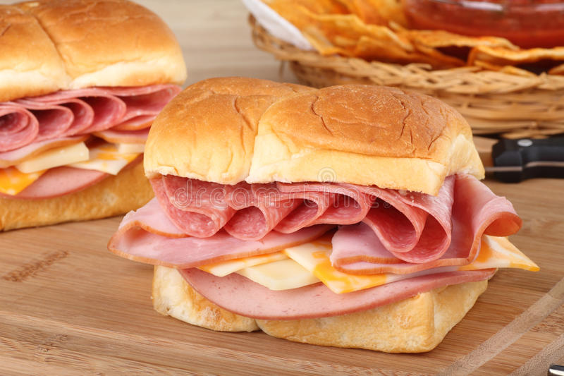 Cold Cut Sandwich Closeup royalty free stock photography