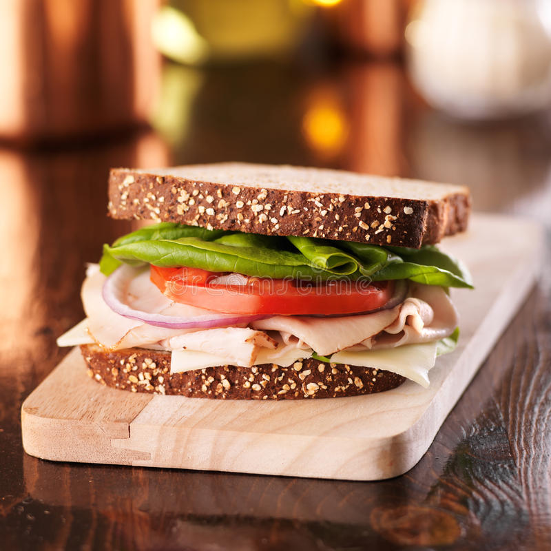 Cold cut turkey deli meat sandwich. With copyspace above sandwich stock image