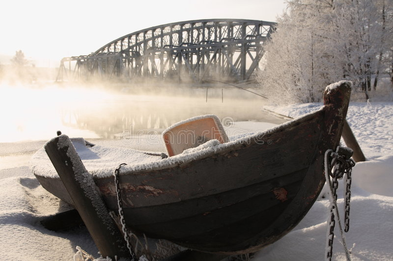 Cold day. Very cold day, view over a river in Finland stock photography