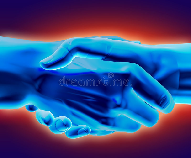 Cold Deal. 3D rendered handshake stock illustration