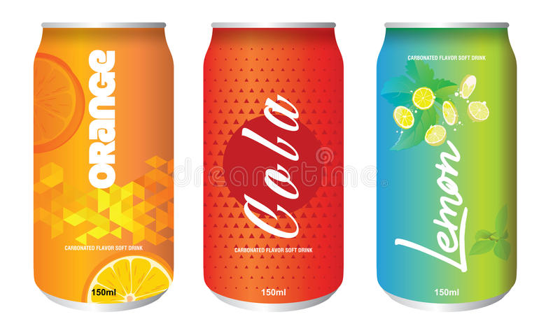 Cold Drink Can Isolated. Soft Drink cans isolated colorful design stock illustration