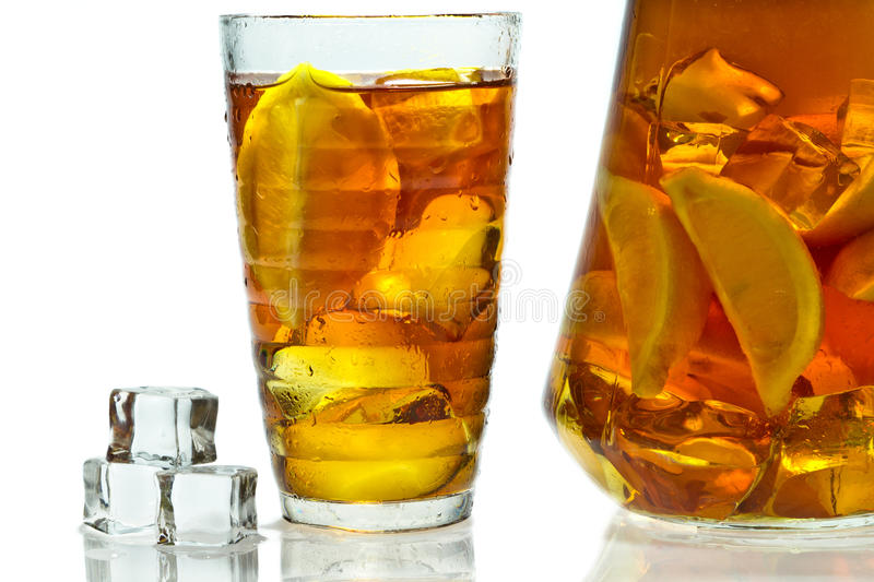 Cold drink with lemon and ice royalty free stock images