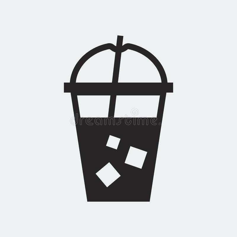 Cold drink in a plastic cup illustration royalty free illustration