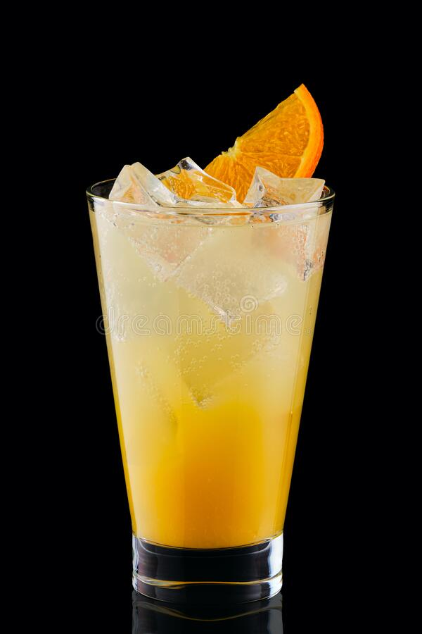 Free Cold Fizz Cocktail With Orange Isolated On Black Stock Images - 193491874