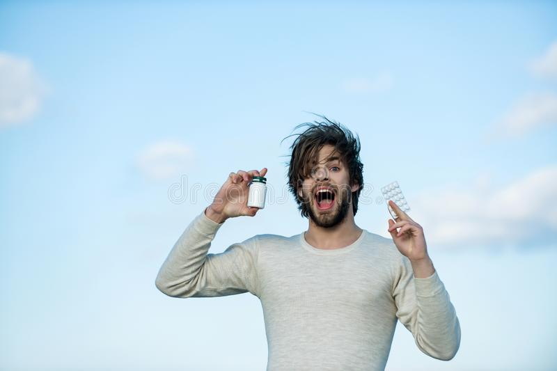 Cold, flu and headache treatment, hypnotic tablet. Health and medicine, hangover. Dieting pill and vitamin, man with anabolic. Drug and antidepressant royalty free stock images