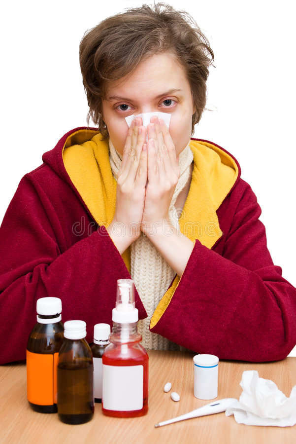 Cold and flu season. A cold and a flu season stock image